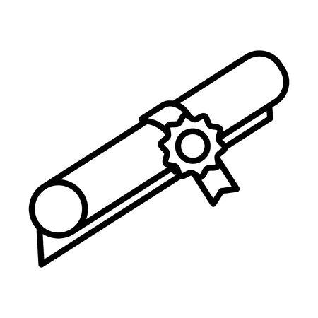 graduation certificate line style icon vector illustration design