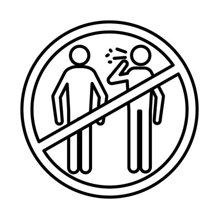 persons coughing sick in denied symbol line style icon vector illustration design 向量圖像