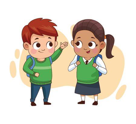 couple of little students kids vector illustration design