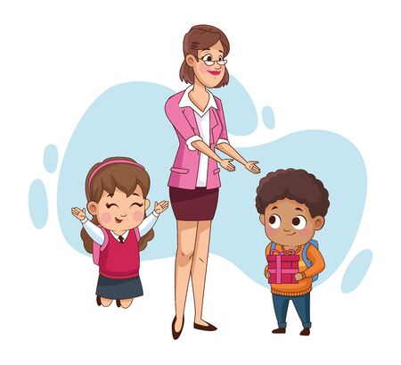couple of little students kids with teacher vector illustration design Stock Illustratie