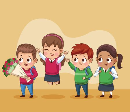 group of little students kids vector illustration design Stock Illustratie