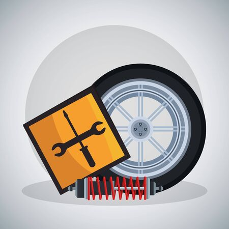 car tire with repair tools sign and shock absorber over gray background, colorful design, vector illustration Ilustrace