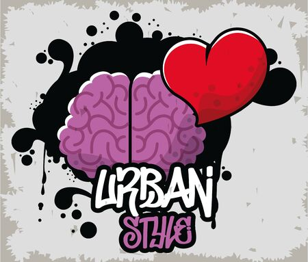 graffiti urban style poster with brain and heart vector illustration design Stock Illustratie