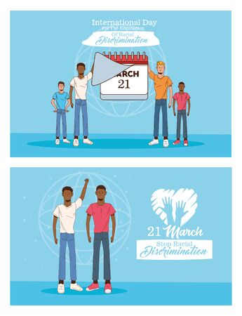 stop racism international day poster with interracial men and calendar vector illustration design 矢量图像