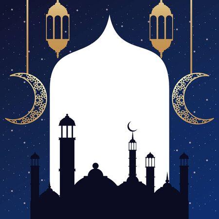 ramadan kareem card with golden lanterns and taj mahal vector illustration 向量圖像