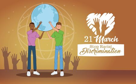 stop racism international day poster with interracial men lifting earth planet vector illustration design 矢量图像