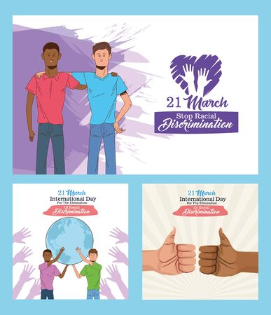 stop racism international day poster with interracial men lifting planet earth vector illustration design 矢量图像