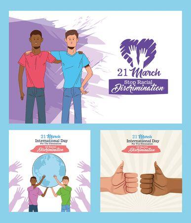 stop racism international day poster with interracial men lifting planet earth vector illustration design Ilustração