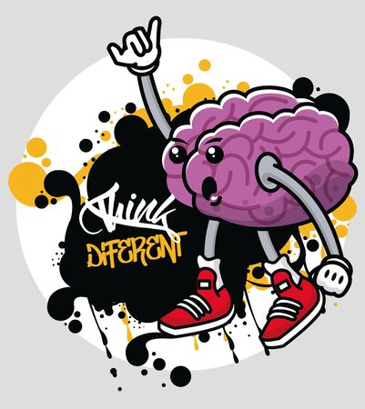 graffiti urban style poster with brain character vector illustration design