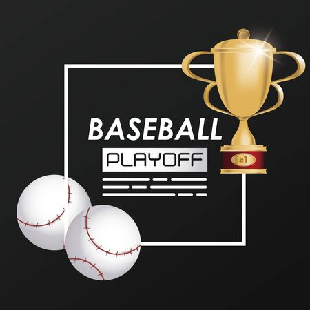 baseball sport ball and trophy vector illustration design