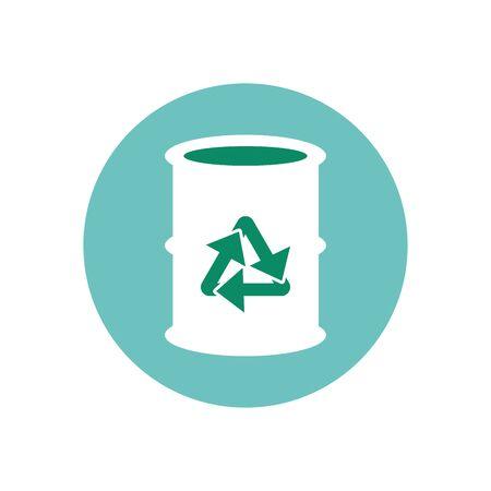 arrows recycle symbol barrel metal vector illustration design