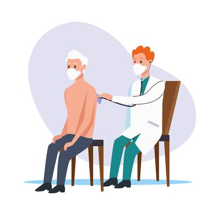 doctor protecting elderly person characters vector illustration design  イラスト・ベクター素材