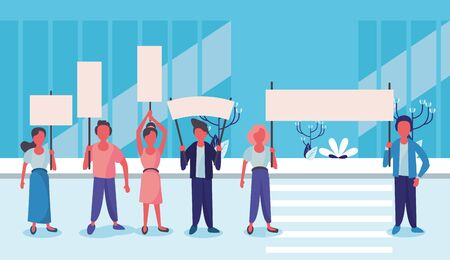 group of activist people protesting on the city vector illustration design