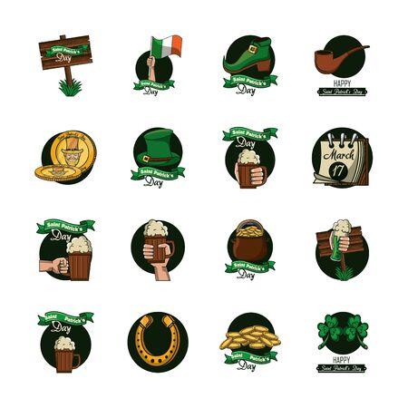 bundle of saint patrick day celebration icons vector illustration design Vecteurs