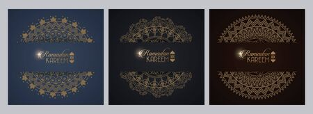 eid mubarak card with mandalas frames decoration vector illustration design