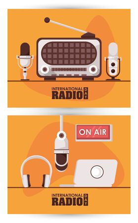 international radio day poster with retro apparatus and laptop vector illustration design
