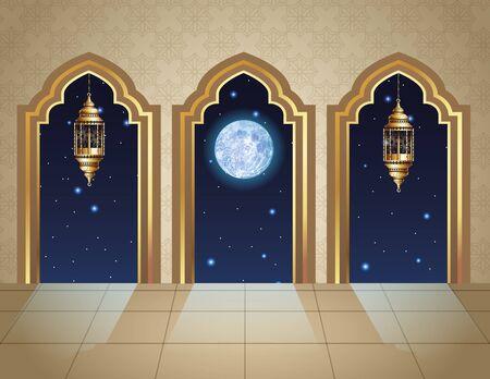 ramadan kareem celebration with lanterns hanging in temple vector illustration design