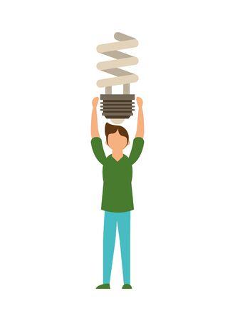 man lifting economy bulb light spiral vector illustration design