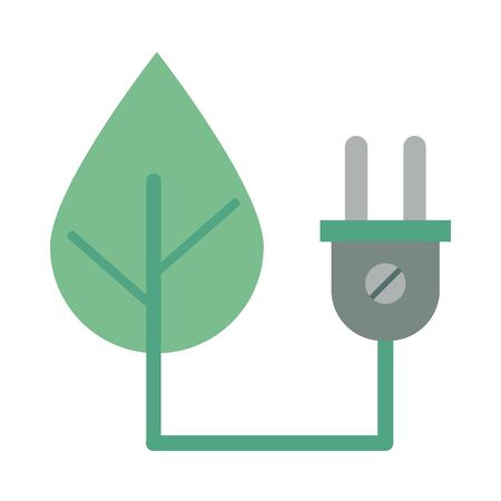 energy connector plug with leaf vector illustration design Vettoriali