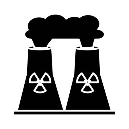 nuclear plant chimney isolated flat style icon vector illustration design Vettoriali