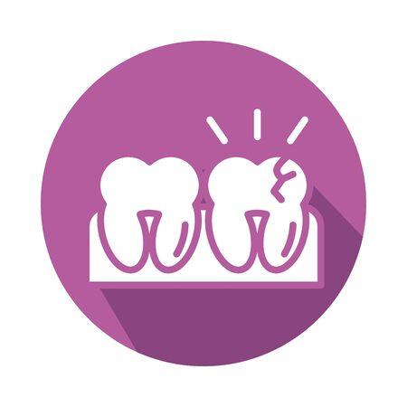 teeth human block style icon vector illustration design  イラスト・ベクター素材