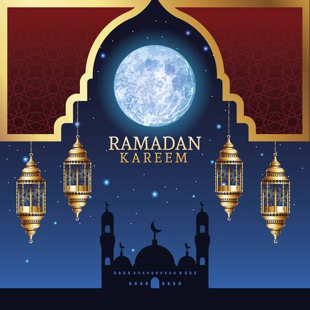 ramadan kareem celebration with taj mahal and lamps vector illustration design