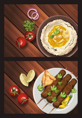 middle eastern food in wooden table vector illustration design Vetores