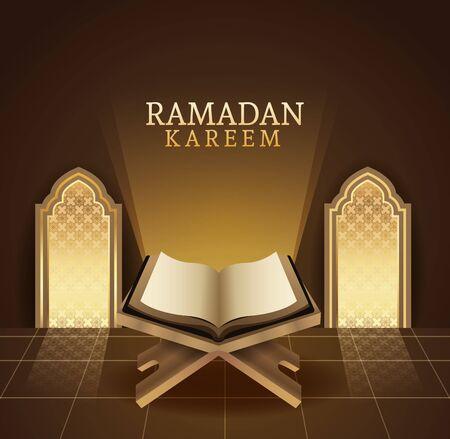ramadan kareem celebration with koran book vector illustration design