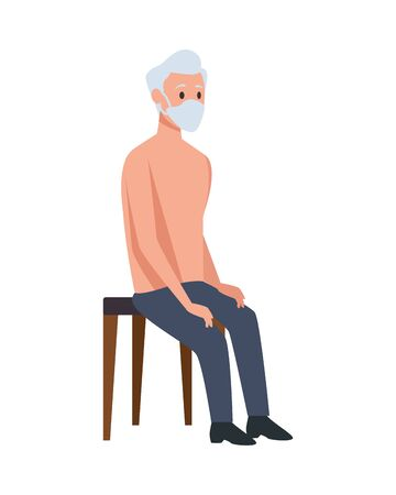 old man seated in wooden chair vector illustration design  イラスト・ベクター素材