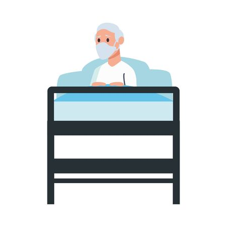 old man lying in bed character vector illustration design  イラスト・ベクター素材