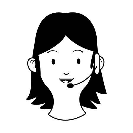 woman with headse head character vector illustration design Ilustración de vector