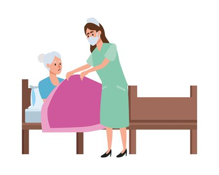 nurse attending old woman in bed vector illustration design