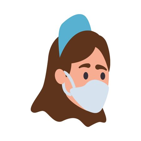 nurse with face mask character vector illustration design