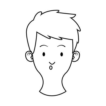 head young man avatar character vector illustration design 向量圖像