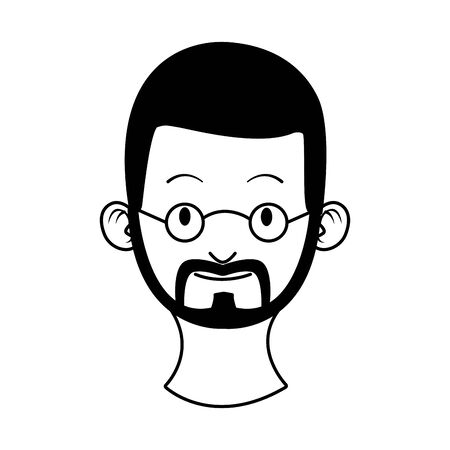 head young man with beard character vector illustration design
