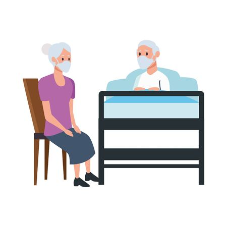 grandparents couple in bedroom scene vector illustration design  イラスト・ベクター素材