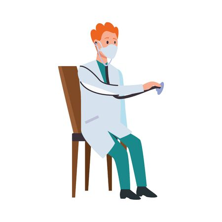 doctor professional with face mask and stethoscope in chair vector illustration design