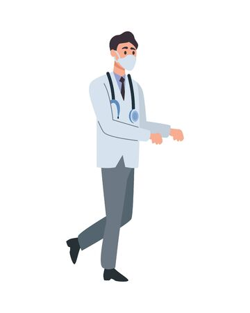 doctor professional with face mask character vector illustration design