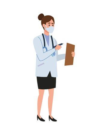 female doctor professional with face mask character vector illustration design  イラスト・ベクター素材