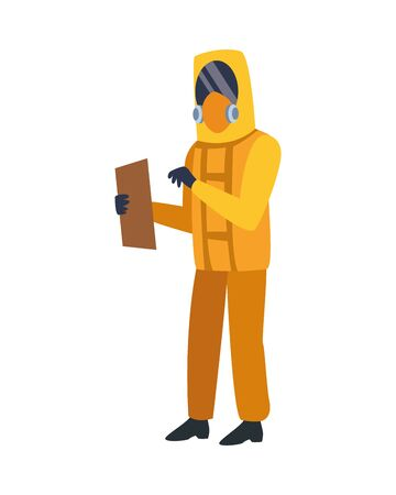 person with biosafety suit character vector illustration design