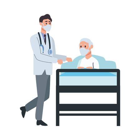 doctor attending old man lying in bed vector illustration design