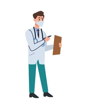 doctor professional with face mask and check list character vector illustration design