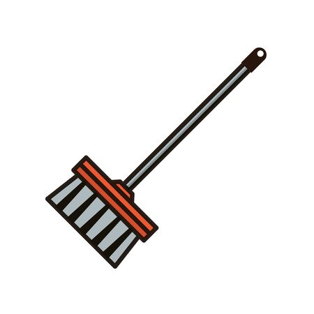 broom tool cleaning flat style vector illustration design Stock Illustratie