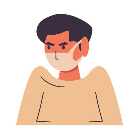 man using face mask character vector illustration design