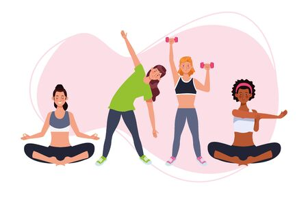 people practicing exercise athletes characters vector illustration design