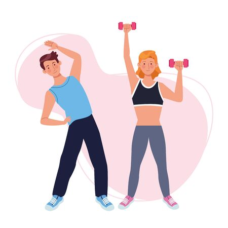 couple lifting dumbbells athletes characters vector illustration design