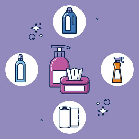 housekeeping tools and products icons vector illustration design Illustration