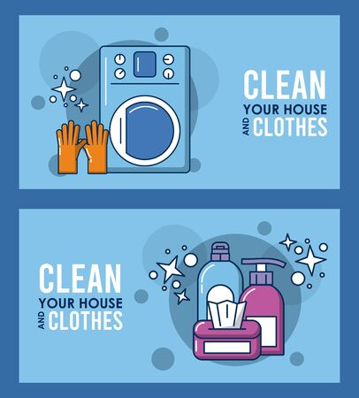 clean your house and clothes lettering with equipment vector illustration design