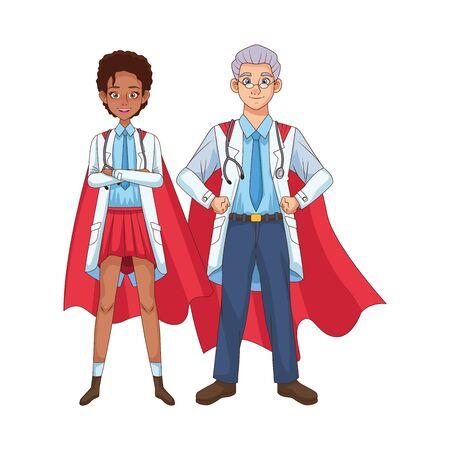 super doctors interracial couple with hero cloak vs covid19 vector illustration design