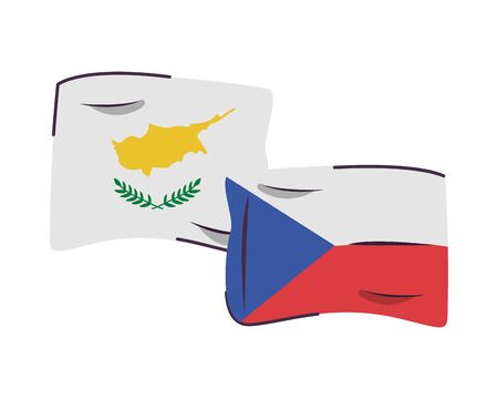 czech republic and cyprus flags countries isolated icon vector illustration design